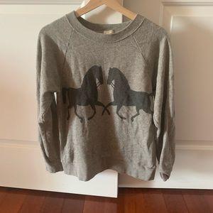 JCrew factory gray sweatshirt with horses size M